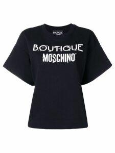 Boutique Moschino pierced logo T-shirt - Black