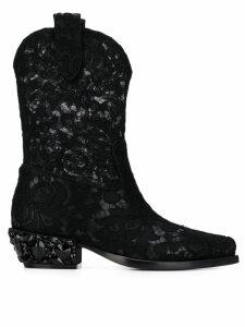 Dolce & Gabbana lace Texan boots - Black