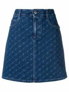 Stella McCartney logo print denim skirt - Blue