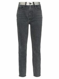 Jordache high-waisted straight leg metallic panel jeans - Grey