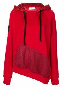 No Ka' Oi asymmetric jersey hoodie - Red