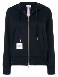 Thom Browne Center-Back Stripe Zip-Up Hoodie - Blue