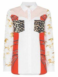GANNI Sweeny patchwork print shirt - 977 BLOCK COLOUR