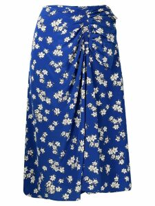 P.A.R.O.S.H. floral print gathered skirt - Blue
