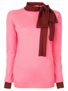 Marni contrast neck-tied sweater - PINK