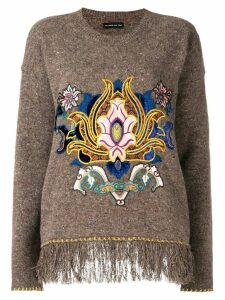 Etro embroidered fringe trim sweater - Brown