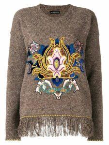 Etro embroidered fringe trim sweater - Brown