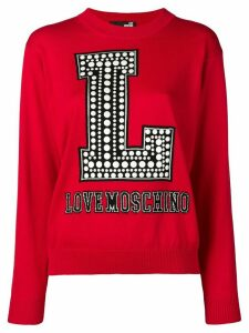 Love Moschino logo intarsia jumper - Red