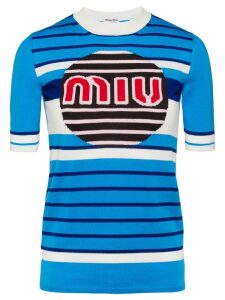 Miu Miu logo knit pullover - Blue