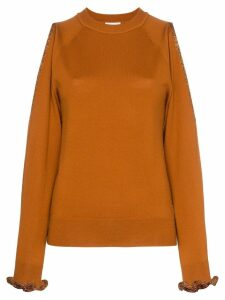 See By Chloé cut out shoulder wool jumper - Orange