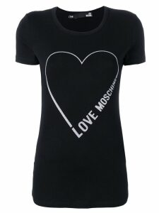 Love Moschino logo heart print T-shirt - Black