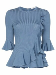 Erdem Flora ribbed ruffle trim top - Blue