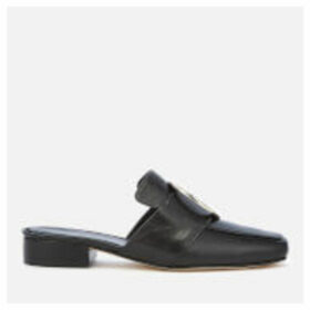 Dorateymur Women's Petrol Leather Slide Loafers - Black