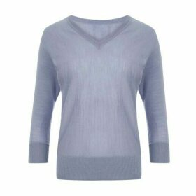Blue Merino Wool Batwing Jumper