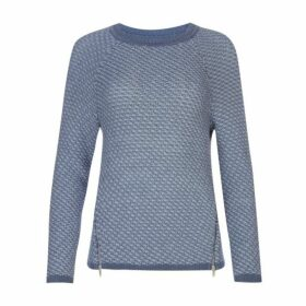 Blue Two Tone Zip Detail Jumper