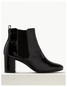 M&S Collection Leather Block Heel Chelsea Ankle Boots