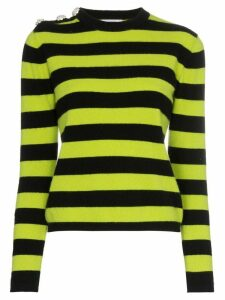GANNI crystal button striped sweater - Black