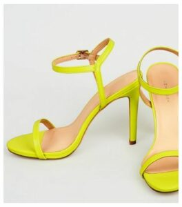 Yellow Neon Patent Barely There Stilettos New Look