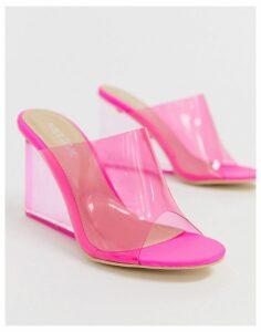 Public Desire Maliboo bright pink clear wedge mule