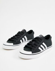 adidas Originals black and white Nizza trainers