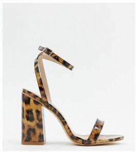 RAID Wide Fit Enya leopard print patent block heeled sandals