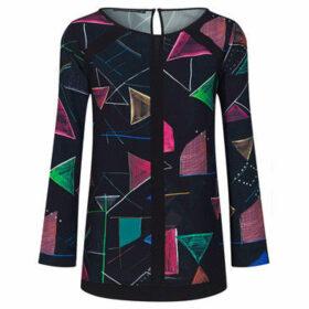 Mado Et Les Autres  ELIXIR long sleeve printed tunic  women's Blouse in Black