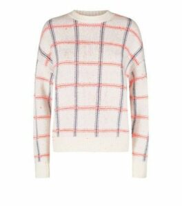 Off White Neon Check Jumper New Look