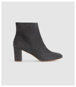 Reiss Florens Suede - Suede Block Heeled Boots in Charcoal, Womens, Size 8