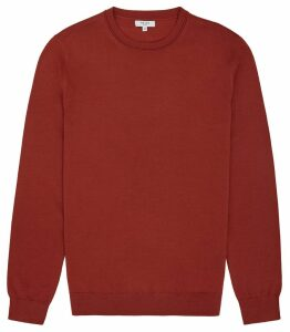 Reiss Wessex - Merino Wool Jumper in Burnt Orange, Mens, Size XXL