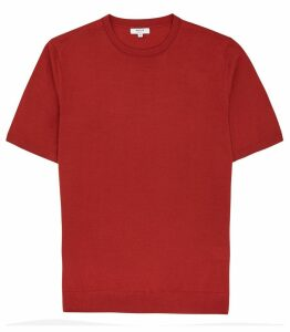 Reiss Wiltshire - Merino Crew Neck Top in Burnt Orange, Mens, Size XXL