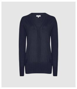 Reiss Elle - Merino V-neck Jumper in Navy, Womens, Size XXL