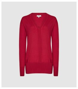 Reiss Elle - Merino V-neck Jumper in Magenta, Womens, Size XXL