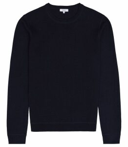 Reiss Dakota - Textured Crew Neck Jumper in Navy, Mens, Size L