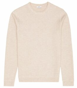 Reiss Dakota - Textured Crew Neck Jumper in Stone, Mens, Size XS