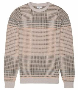 Reiss Jefferson - Broken Check Jumper in Pink Grey, Mens, Size M