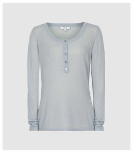 Reiss Bella - Grandad Jumper in Pale Blue, Womens, Size XXL