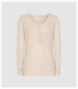 Reiss Bella - Grandad Jumper in Pale Pink, Womens, Size XXL