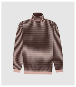 Reiss Cedric - Striped Rollneck Jumper in Soft Pink/ Bordeaux, Mens, Size S