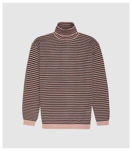 Reiss Cedric - Striped Rollneck Jumper in Soft Pink/ Bordeaux, Mens, Size S