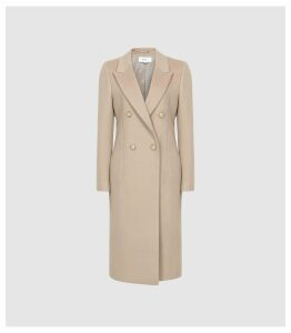 Reiss Heston - Longline Double Breasted Coat in Camel, Womens, Size 14