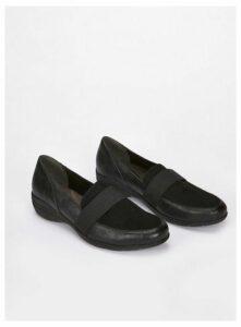 Extra Wide Fit Black Comfort Wedges, Black