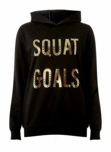 Womens Black Squat Goals Motif Hoodie With Cotton- Black, Black