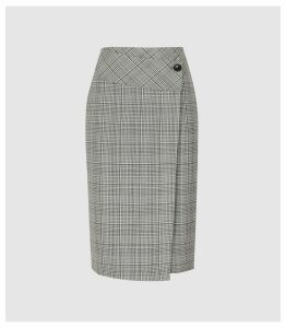 Reiss Alenna - Wrap Front Tailored Skirt in Black/white, Womens, Size 16
