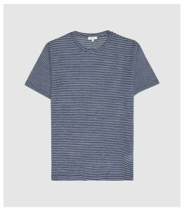 Reiss Ridley - Striped Crew Neck T-shirt in Indigo, Mens, Size XXL