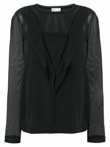 Red Valentino ruffle trim blouse - Black