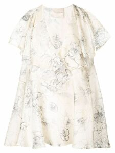 Erika Cavallini floral print silk blouse - NEUTRALS