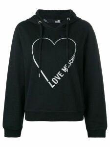 Love Moschino logo heart hoodie - Black