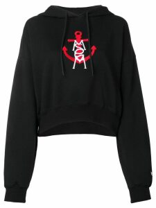 MSGM logo anchor-embroidered hoodie - Black