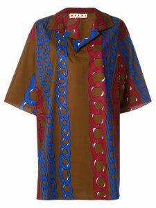 Marni chain print oversized shirt - Brown