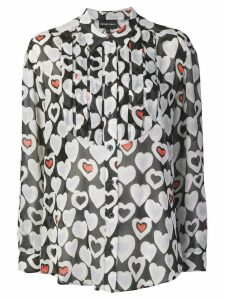 Emporio Armani hearts print pleated bib shirt - Black